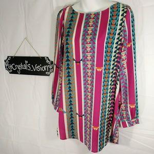 Anthropologie Francesca's tribal pink jersey top